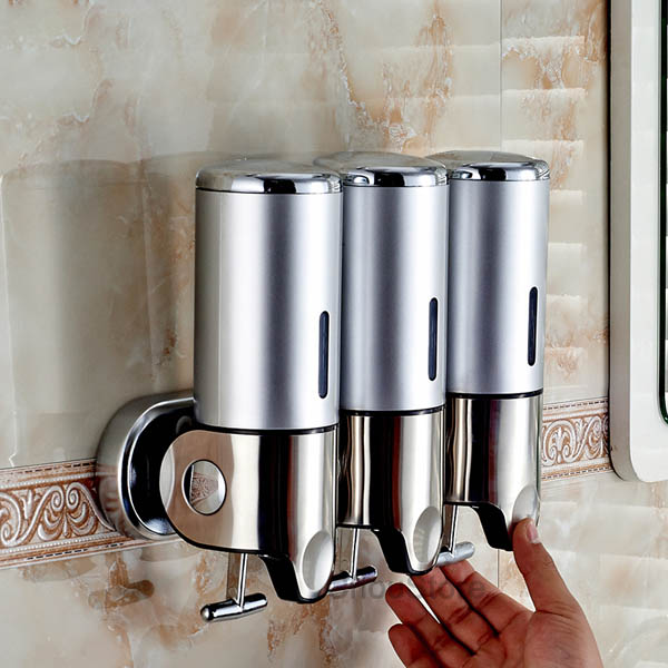 Bathroom Triple Shower Gel Dispenser Body Lotion Shampoo