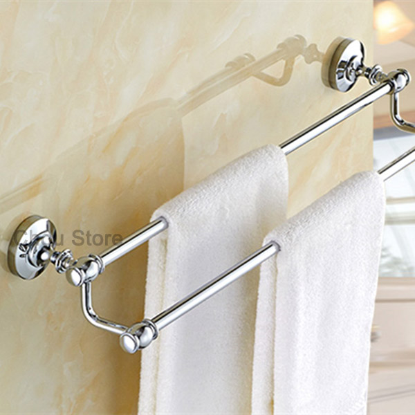 Bathroom Towel Rack Kit: Chrome Finish Bathroom Double Pole Towel Rack Wall Mount