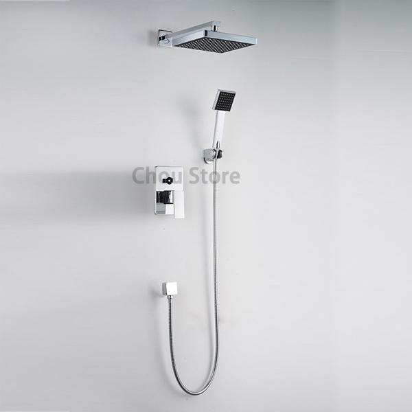 Matte Black LED Shower Faucet Set Rain Head Hand Held Spray Mixer Valve Tap Unit