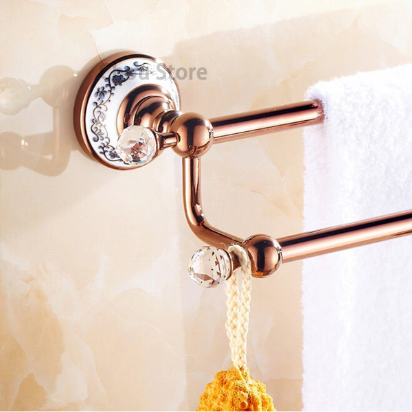 Gold Towel Rails For Bathrooms: Crystal Deco Rose Gold Bathroom Towel Rack Wall Mount