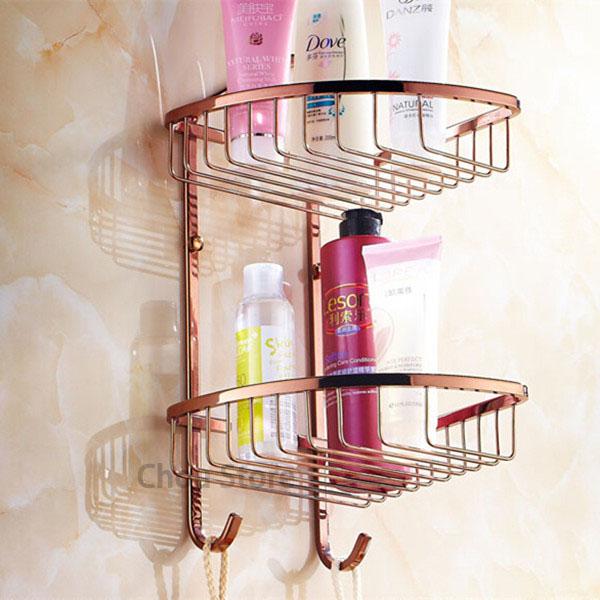 Rose Gold Brass Two Tier Storage Basket Bathroom Shower Caddy Rack ...